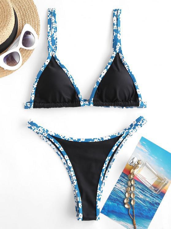 ZAFUL Floral Binding Trim Triangular Cheeky Bikini Swimwear - أزرق فاتح L