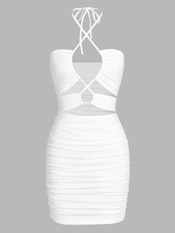 ZAFUL Vestido Acanalado de Corte Alto con Encaje - Blanco S