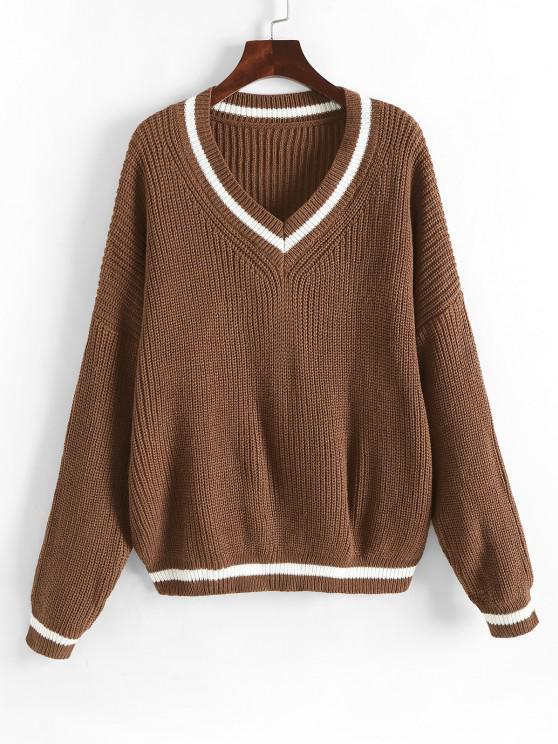 Weites Pullover mit Hängender Schulter und V Ausschnitt - Kaffee M
