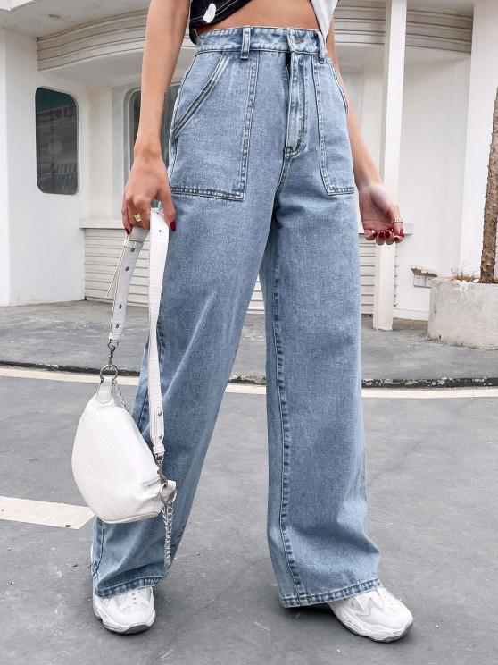 High Waisted Big Pockets Baggy Jeans - أزرق L