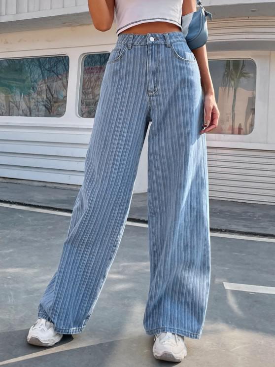 High Waisted Shadow Stripes Baggy Jeans - أزرق L