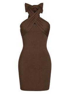 ZAFUL Cross Halter Mini Bodycon Dress - Deep Coffee S
