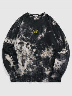 ZAFUL Camiseta Con Bordado De Tie-dye Con Estampado De Mariposa - Negro S