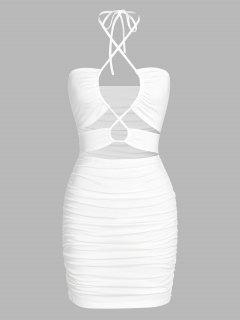 ZAFUL Cut Out Lace Up Ruched Slinky Dress - White S