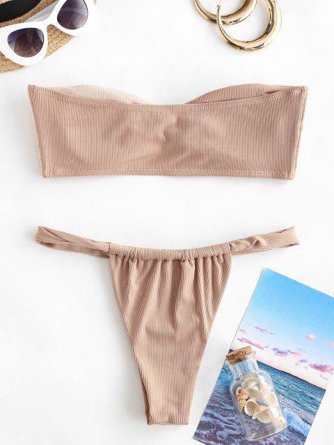 ZAFUL Bikini Bandeau con Bloqueo de Color - café luz M Mobile