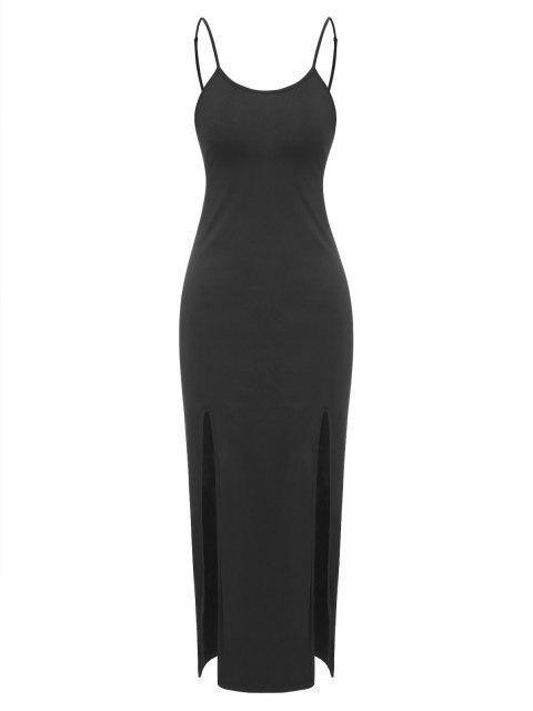 ZAFUL Vestido Midi de Tirante de Color Sólido con Abertura - Negro S Mobile