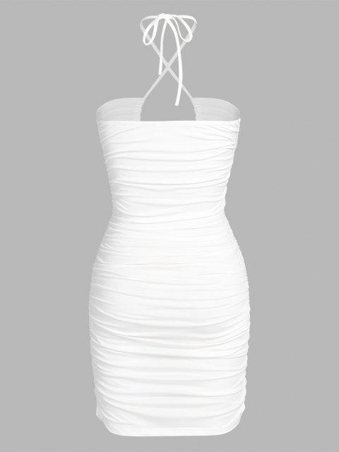 ZAFUL Ausgeschnittenes Geblümtes Kleid mit Rüschen - Weiß M Mobile