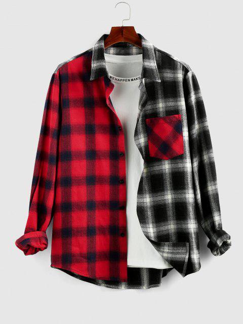 buy ZAFUL Colorblock Plaid Shirt - MULTI M Mobile