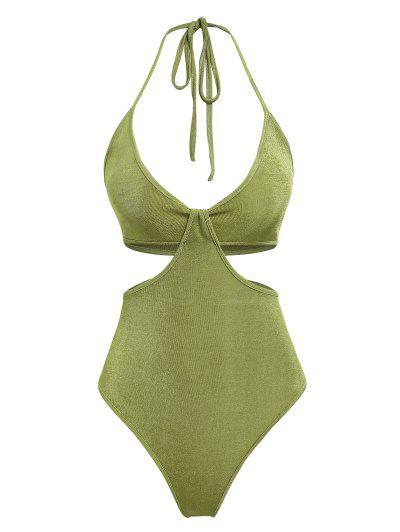 ZAFUL Jersey Cutout Twisted Halter Bodysuit - Green M
