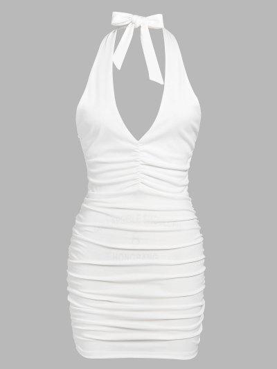 Halter Backless Fold Bodycon Dress - White S