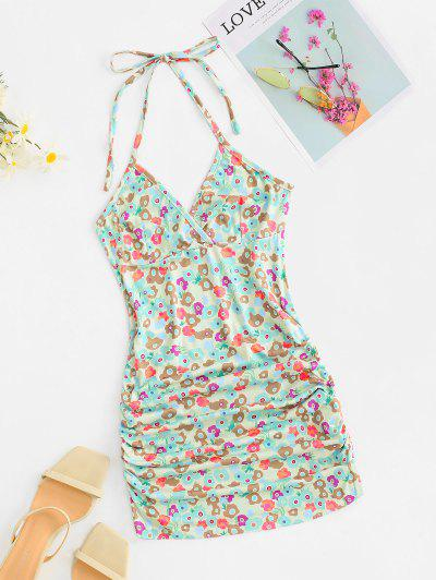 Floral Halter Ruched Bodycon Dress - Multi L