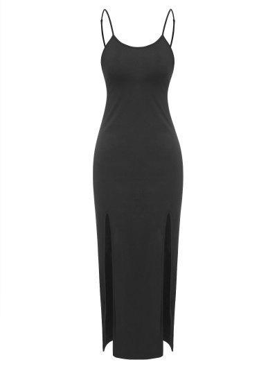 ZAFUL Solid Midi Cami Slit Dress - Black S