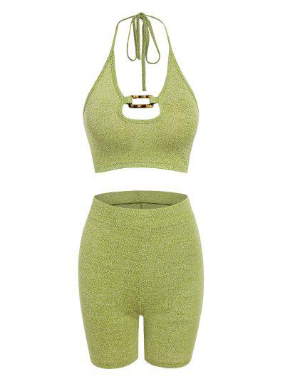 ZAFUL Square Ring Knitted Two Piece Biker Shorts Set - Light Green M