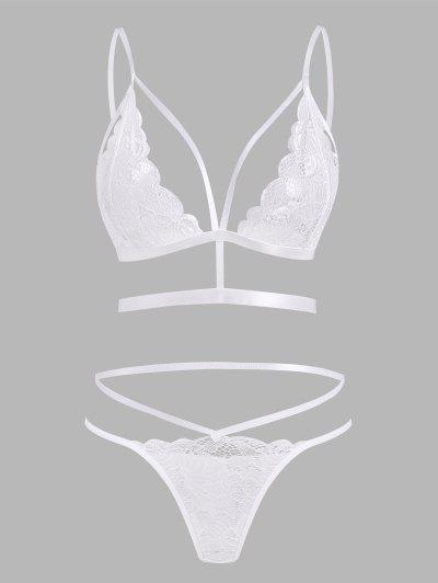 Strappy Scalloped Trim Harness Lace Lingerie Set - White L