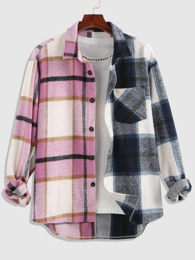 ZAFUL Plaid Half Print Wool Blend Pocket Shacket - Multi S