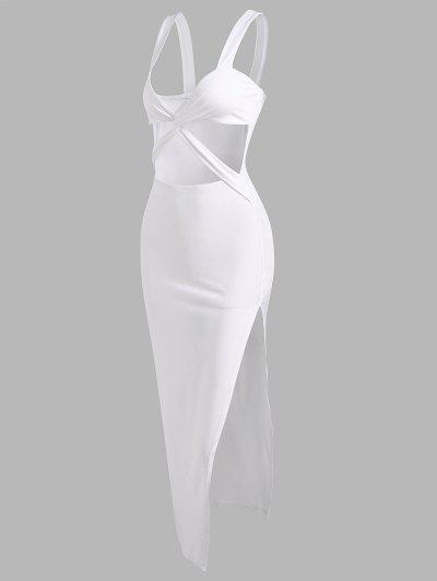 Criss Cross Cut Out Thigh Split Dress - White S