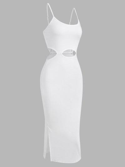 Cut Out Slit Slinky Dress - White L