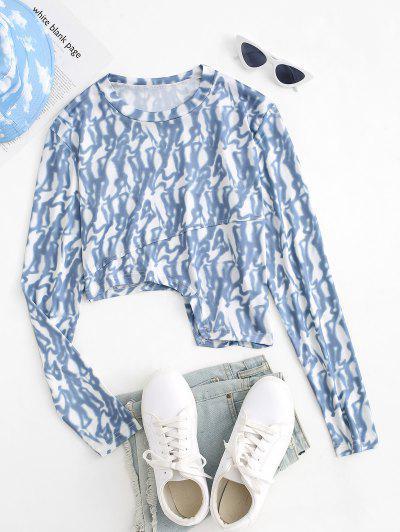 Tie Dye Asymmetrical Hem Long Sleeve Tee - Gray L