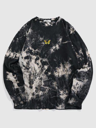 ZAFUL Schmetterling Besticktes T-Shirt Mit Batikdruck - Schwarz M