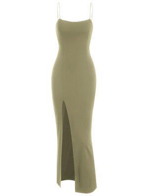 zaful Spaghetti Strap Thigh Split Slinky Maxi Dress