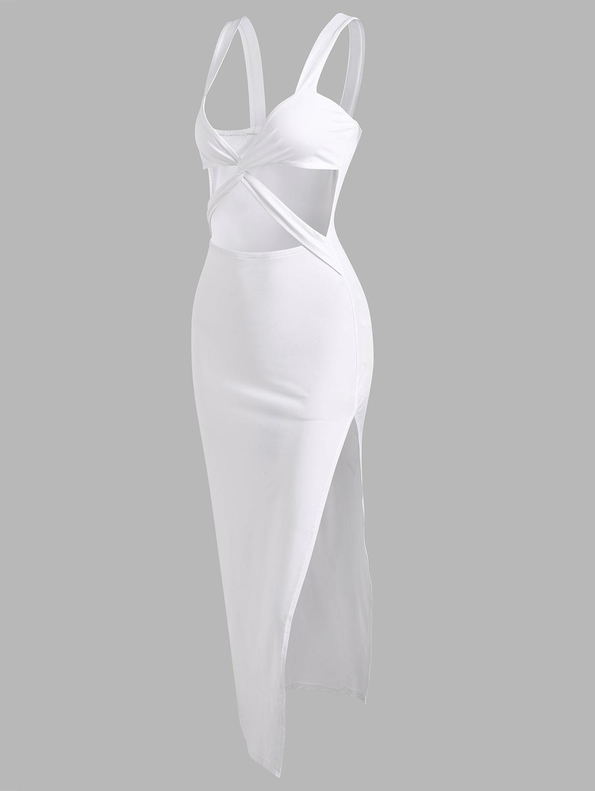 Criss Cross Cut Out Thigh Split Dress