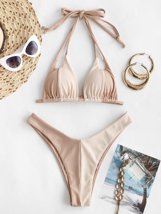 affordable ZAFUL Ribbed Colorblock Dual Strap Bikini Swimwear - LIGHT COFFEE S