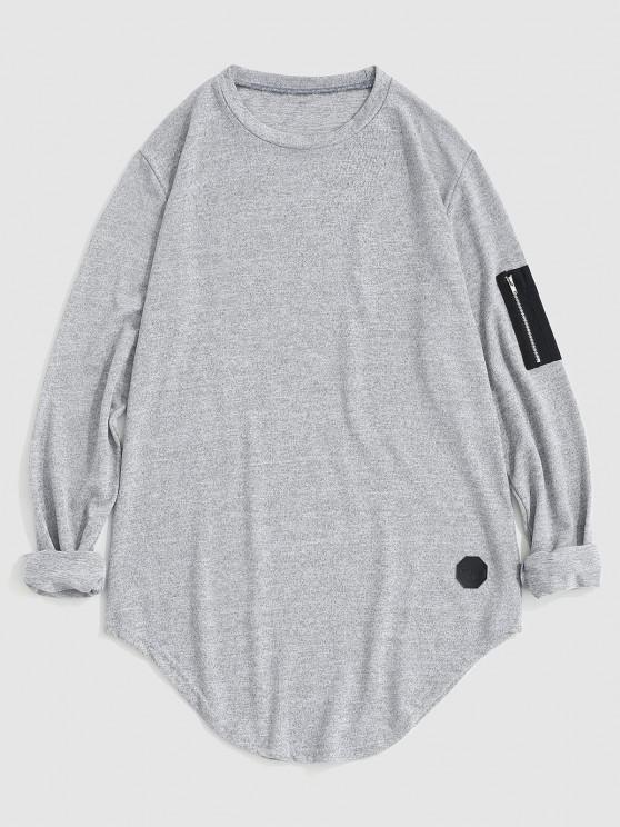 Zipper Pocket Applique Marled T-shirt - رمادي فاتح S