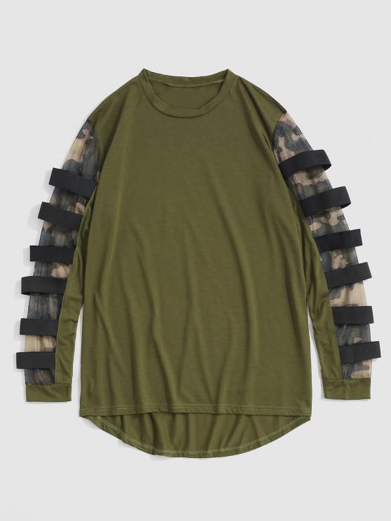 Camouflage Mesh Insert High Low T-shirt - الجيش الأخضر M