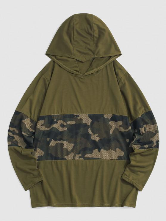 Camouflage Pattern Mesh Insert Hoodie - الجيش الأخضر L