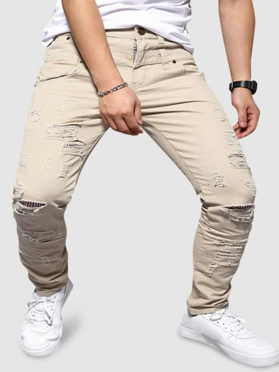 Double Waistband Ripped Tapered Pants - متعددة-A L