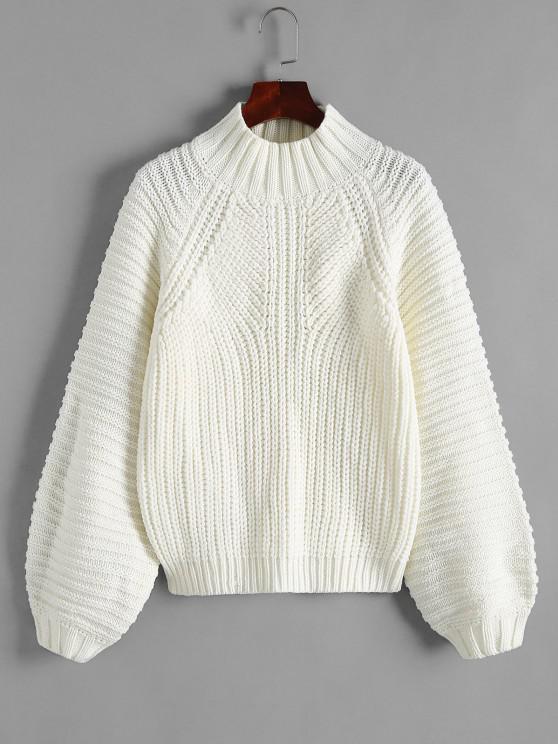 Stehkragen Klobiger Laterne Ärmel Pullover - Weiß S