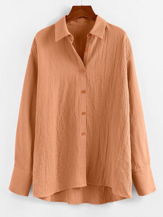 outfit ZAFUL Earth Tone Button Down Boyfriend Shirt - LIGHT COFFEE S