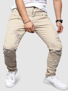 Double Waistband Ripped Tapered Pants - Multi-a Xl