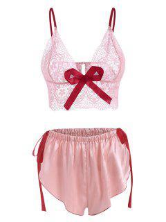 Pijama De Encaje Lazo Y Satén - Rosa Claro S