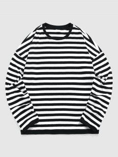 ZAFUL Striped Drop Shoulder T-shirt - Black M