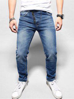 Leichte Wäsche Konisches Jeans - Tiefes Blau S