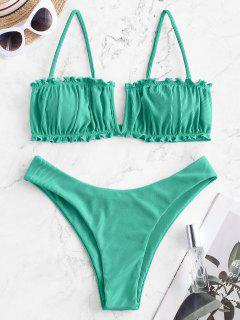 ZAFUL V-wired Ribbed High Leg Bikini Swimwear - Green M