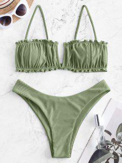 Costume Da Bagno Bikini A Costine A Gamba Alta Di ZAFUL Con Ferretto A V - Verde Chiaro L