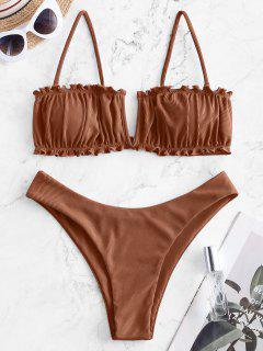 ZAFUL V Verdrahteter Bikini Badebekleidung Mit Hohem Bein Und V-Kabel - Kaffee M