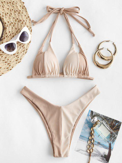 buy ZAFUL Ribbed Colorblock Dual Strap Bikini Swimwear - LIGHT COFFEE M Mobile