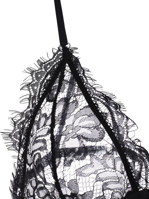 latest Front Closure Eyelash Lace Garter and Bra Set - BLACK L Mobile