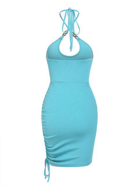 ZAFUL Kreuzes und Queres Kleid mit Glitzerndem Metallfaden - Blau S Mobile