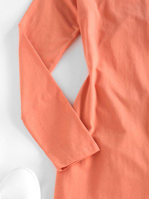 ZAFUL Geschnürte Langarm Etuikleid mit Ausschnitt - Hell orange S Mobile