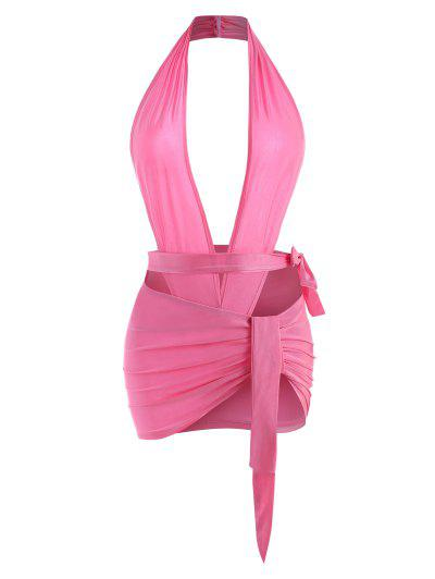 Backless Halter Wrap Top And Ruched Mini Skirt Set - Light Pink M