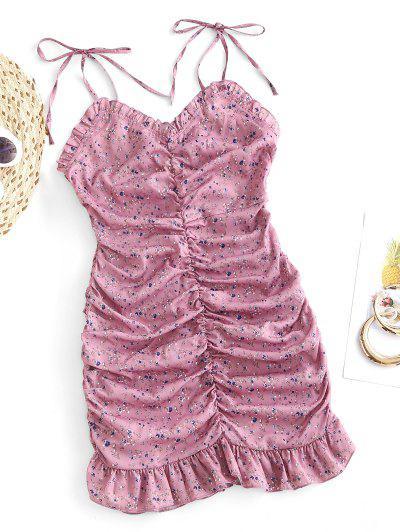 Robe Fleurie à Epaule Nouée à Volants - Rose Léger  S