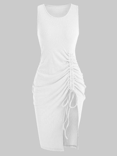 Rib-knit Cinched Ruched Split Slinky Hem Tank Dress - White M