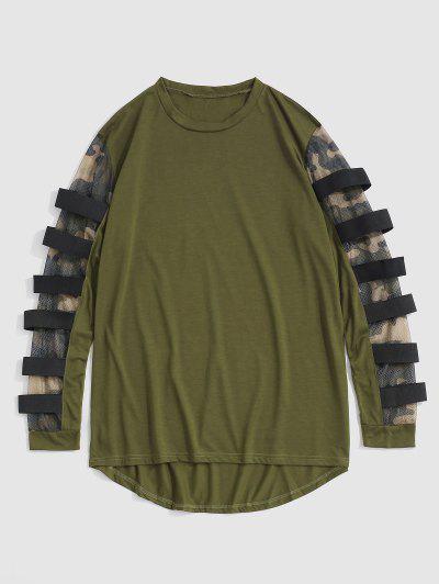 T-shirt Asimmetrica Camouflage Con Inserto In Maglia - Verde Dell'esercito L