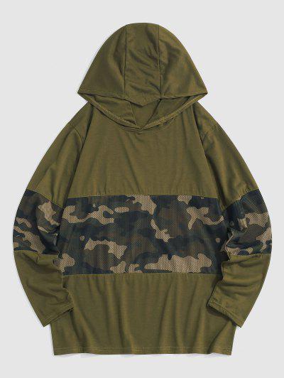 Tarnen Pattern Maschen Insert Hoodie - Armeegrün L