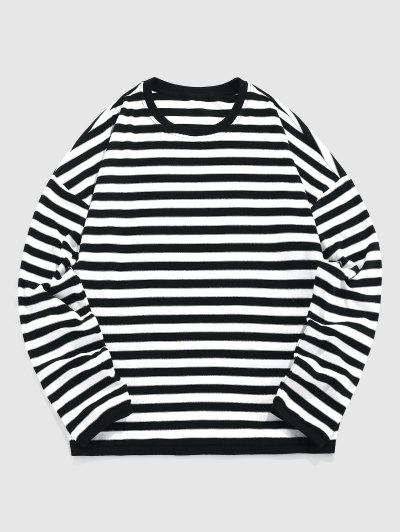 ZAFUL Gestreiftes Hängender Schulter T-Shirt - Schwarz L