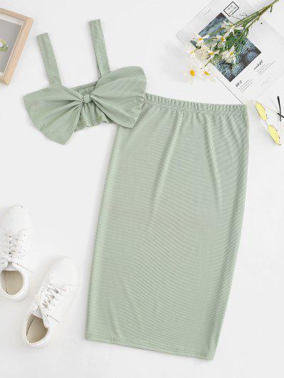 Ribbed Knot Two Piece Matching Skirt Set - Light Green S